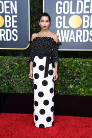 Zoe Kravitz kept it fun on the red carpet in an off-the-shoulder polka-dot gown by Saint Laurent at the 2020 Golden Globes.