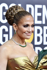 Jennifer Lopez styled her hair into a voluminous braided bun for the 2020 Golden Globes.
