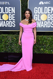 Priyanka Chopra-Jonas was sweet and glam in a draped pink off-the-shoulder gown by Cristina Ottaviano at the 2020 Golden Globes.