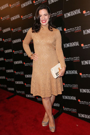 Jacqueline Mazarella went for a retro look with this nude sweater dress during the Hamilton Behind the Camera Awards.