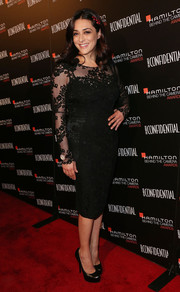Valentina Lodovini went for classic sophistication in a long-sleeve lace LBD during the Hamilton Behind the Camera Awards.