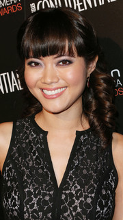Jessica Lu sported corkscrew curls styled in a half-up 'do during the Hamilton Behind the Camera Awards.