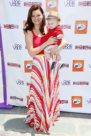 Heather Tom sported a pretty mix of colors with this striped skirt at the Kidstock Music and Art Festival.