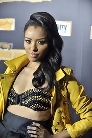 Katerina Graham rocked bright yellow eyeshadow with a slight smoky affect on the inner and outer corners.