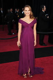 Natalie Portman gave her winning Oscar look the perfect finishing touch with a silver box clutch.