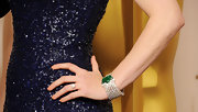 Amy Adams amped up her sequined blue gown with a diamond and emerald bracelet at the 83rd Annual Academy Awards.