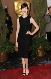 Anne Hathaway channeled Audrey Hepburn in this striking LBD at the Academy Awards Nominations Luncheon.