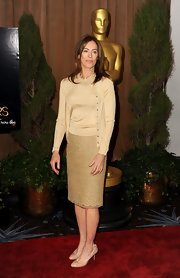 Director Kathryn Bigelow looked Oscar-worthy in this gold evening skirt.