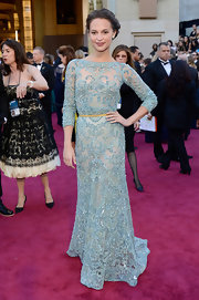 Nothing says feminine chic like lace. Just ask Alicia Vikander, who wore a pale blue lace gown to the 2013 Oscars.