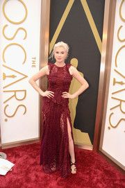 Ireland Baldwin selected a burgundy-hued lace gown for the 2014 Academy Awards.