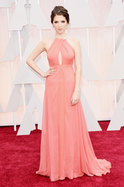 Anna Kendrick was oh-so-sweet and chic at the Oscars in a coral Thakoon gown with a bedazzled neckline and a keyhole cutout.