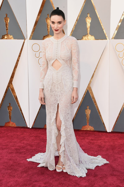 Rooney Mara's embroidered white Givenchy cutout gown at the Oscars had a Victorian-gone-modern feel.