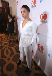 FKA Twigs rocked a baggy white jumpsuit at the GO Campaign Gala.