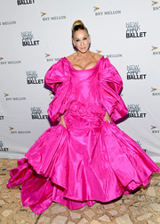 Sarah Jessica Parker was the belle of the ball in this voluminous hot-pink off-the-shoulder gown by  Zac Posen at the 2019 New York City Ballet Fall Fashion Gala.