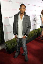 Tyler rocks this herringbone bomber jacket at Teen Vogue's Young Hollywood Party.