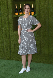 Sophia Bush opted for a monochrome floral dress by Altuzarra when she attended the Veuve Clicquot Polo Classic.