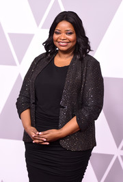 Octavia Spencer attended the 2018 Academy Awards nominees luncheon wearing a sparkly blazer over a ruched LBD.