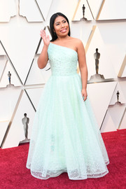 Yalitza Aparicio channeled her inner princess in a pale blue one-shoulder gown by Rodarte at the 2019 Oscars.