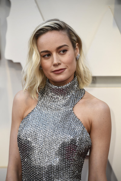 More Pics of Brie Larson Halter Dress (4 of 34) - Dresses & Skirts Lookbook - StyleBistro [hair,blond,face,clothing,fashion,lip,beauty,shoulder,hairstyle,dress,arrivals,brie larson,academy awards,hollywood,highland,california,annual academy awards]