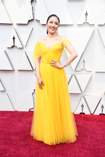 More Pics of Constance Wu Diamond Bracelet (5 of 12) - Bracelets Lookbook - StyleBistro [dress,clothing,yellow,shoulder,gown,red carpet,fashion model,carpet,flooring,a-line,arrivals,constance wu,academy awards,hollywood,highland,california,annual academy awards]