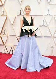 Saoirse Ronan looked frilly in a tricolor peplum gown by Gucci at the 2020 Oscars.