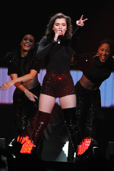 More Pics of Hailee Steinfeld Bomber Jacket (2 of 11) - Outerwear Lookbook - StyleBistro [performance,entertainment,thigh,performing arts,event,leg,fashion,public event,stage,stocking,hailee steinfeld,flz,tampa bay,fla,amalie arena,capital one,jingle ball 2015 - show]