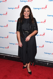 Rachael Ray teamed a black leather jacket with a pleated LBD for the Exploring the Arts Gala.