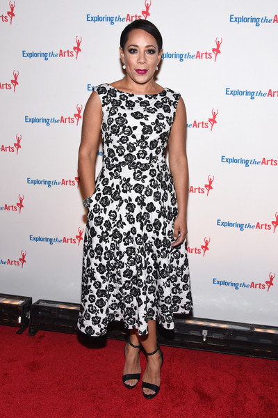 Selenis Leyva charmed in a black-and-white floral frock at the Exploring the Arts Gala.