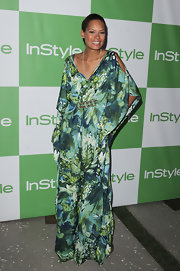 Keisha Whitaker showed off her green printed maxi dress.