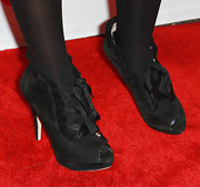 Zendaya's lace-up heels had thick ribbon ties.