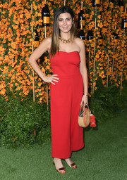 Jamie-Lynn Sigler was breezy and chic in a strapless red jumpsuit at the Veuve Clicquot Polo Classic Los Angeles.