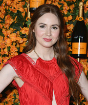 Karen Gillan went boho with this half-up wavy 'do at the Veuve Clicquot Polo Classic Los Angeles.