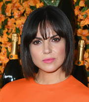 Lana Parrilla attended the Veuve Clicquot Polo Classic Los Angeles wearing a sleek bob with wispy bangs.