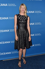 Laura Dern showed off her slim figure in a fit-and-flare leather-look LBD at the Concert for Our Oceans.