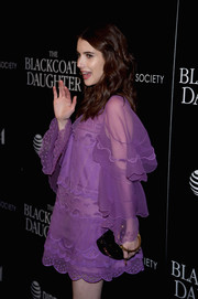 Emma Roberts paired a studded minaudiere with a purple shift dress, both by Chloe, for a screening of 'The Blackcoat's Daughter.'