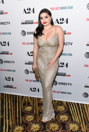 Ariel Winter got majorly glam in a beaded gold slip gown by Steven Khalil Couture for the premiere of 'The Last Movie Star.'
