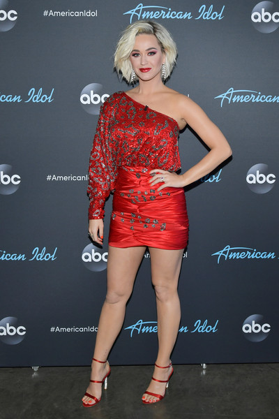 More Pics of Katy Perry Strappy Sandals (1 of 6) - Katy Perry Lookbook - StyleBistro [american idol,clothing,cocktail dress,dress,red,shoulder,fashion,hairstyle,leg,joint,fashion model,arrivals,katy perry,taping,california,los angeles,abc]