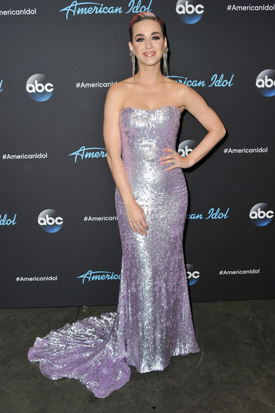 More Pics of Katy Perry Crystal Chandelier Earrings (1 of 23) - Katy Perry Lookbook - StyleBistro [american idol,gown,dress,beauty,flooring,shoulder,purple,cocktail dress,joint,fashion model,fashion,katy perry,arrivals,california,los angeles,abc,show]