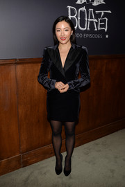 Constance Wu kept it understated in a black velvet tux dress at the 'Fresh Off the Boat' 100th episode celebration.