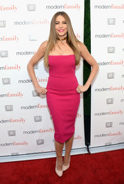 Sofia Vergara completed her minimalist-chic look with nude platform pumps by Charlotte Olympia.