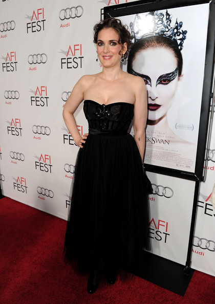 Winona wore a jeweled strapless gown, belted with a skirt of tulle.
