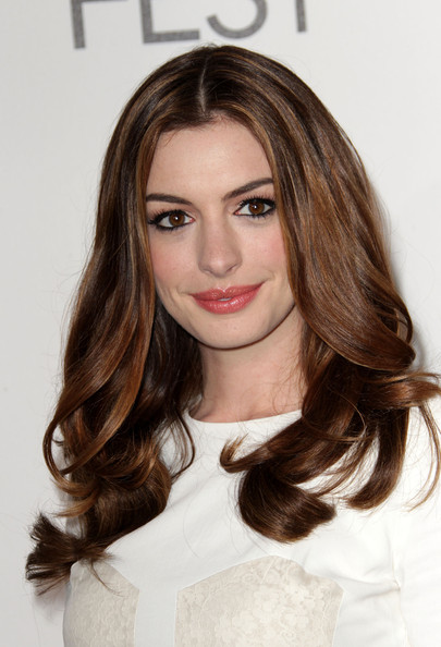 More Pics of Anne Hathaway Long Center Part (1 of 15) - Anne Hathaway Lookbook - StyleBistro