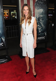 Hilary Swank topped off her zippered white dress with black stilettos.