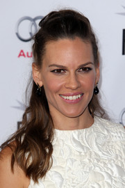 Hilary Swank was punk-glam with this partially braided half-up 'do at the 'Homesman' screening.