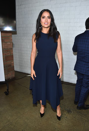 Salma Hayek went minimalist in a sleeveless navy midi dress by Altuzarra at the AFI FEST Indie Contenders Roundtable.