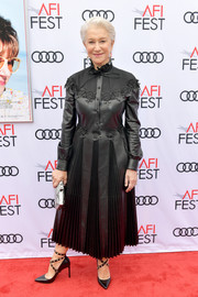 Helen Mirren looked fierce in a pleated black leather dress by Valentino at the AFI FEST screening of 'The Leisure Seeker.'