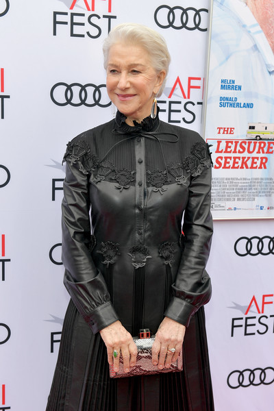 Helen Mirren paired a Judith Leiber snakeskin print clutch with a black leather dress for the AFI FEST screening of 'The Leisure Seeker.'