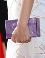 Rose's marbleized lavender clutch added some color in a non-overpowering way to the actress' red carpet look.