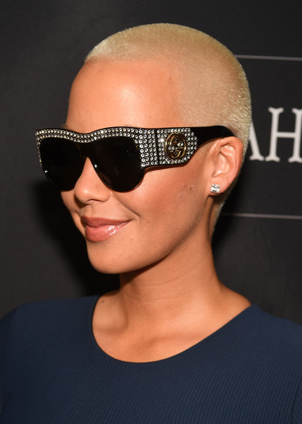 Amber Rose rocked her signature buzzcut and shades at the Know Your Status Tour.