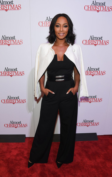 Keri Hilson made a chic appearance at the Atlanta screening of 'Almost Christmas' in a black jumpsuit with an angular neckline.
